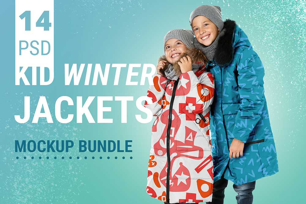 Kid Winter Jackets Mockup Set
