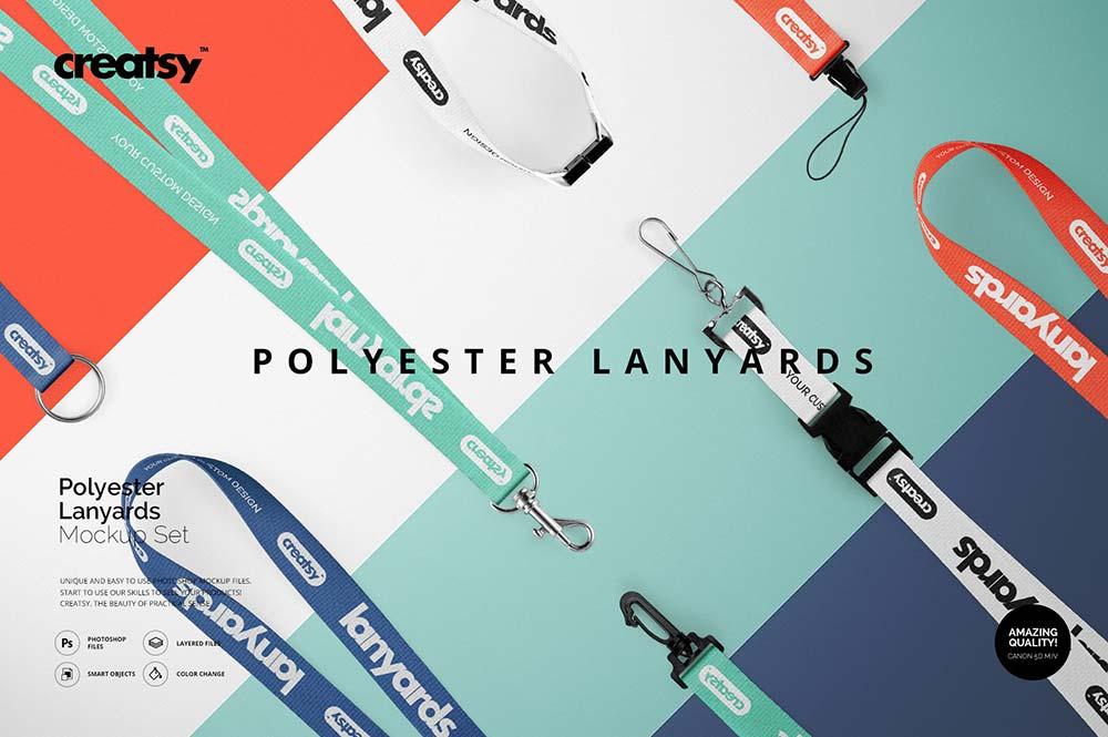 Polyester Lanyards Mockup Set