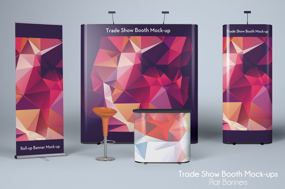Trade Show Booth Mockup Flat Banners