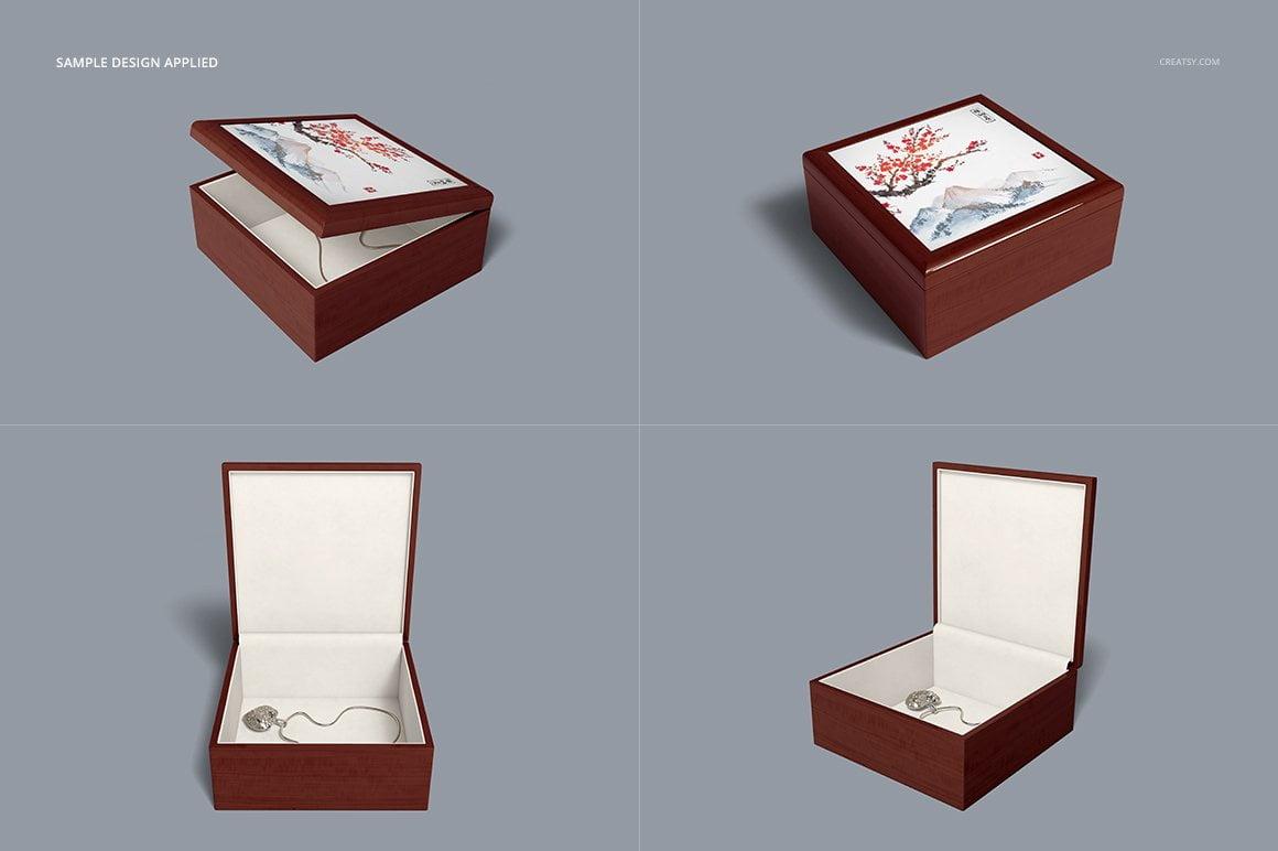 Tiled Wood Jewelry Box Mockup Set