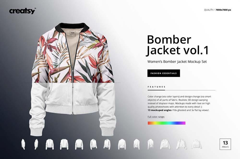 Women's Bomber Jacket Mockup Set