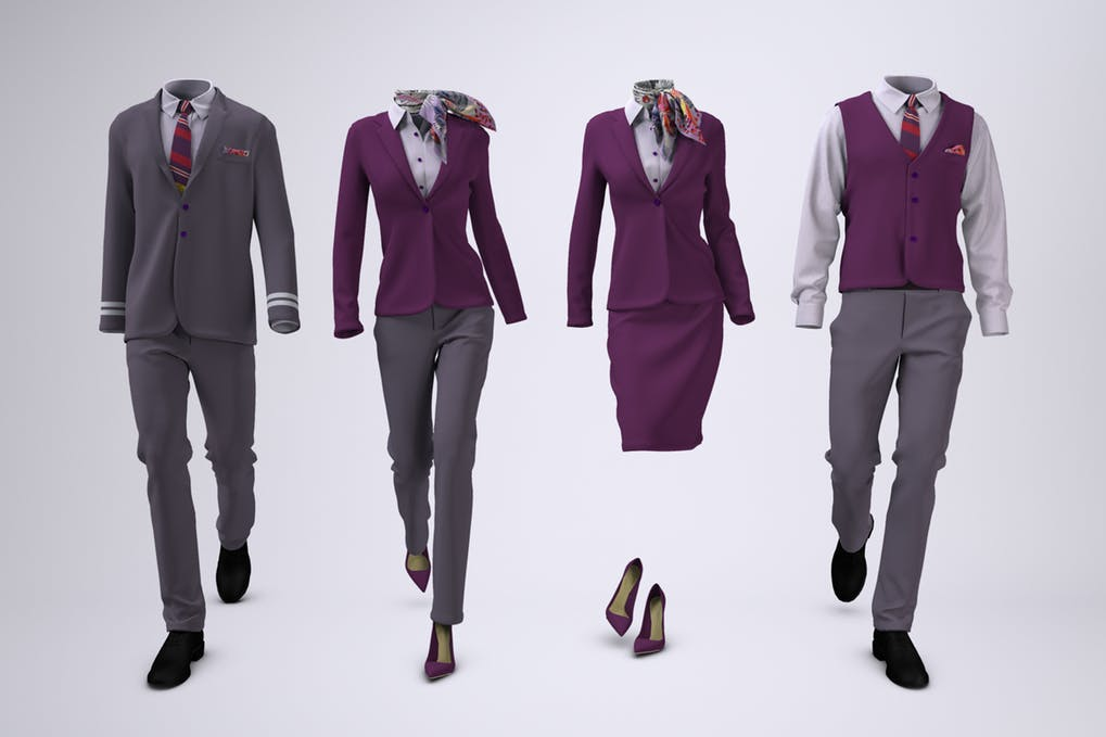 Airline Cabin Crew or Hotel Uniforms Mock-Up