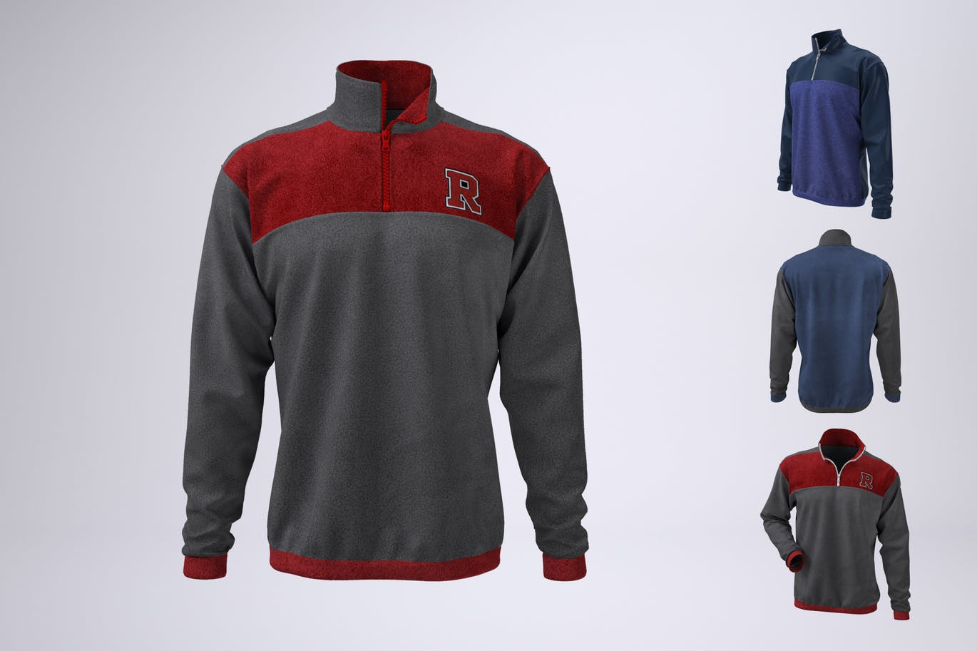 Half Zip Fleece Track Jacket Mock-Up