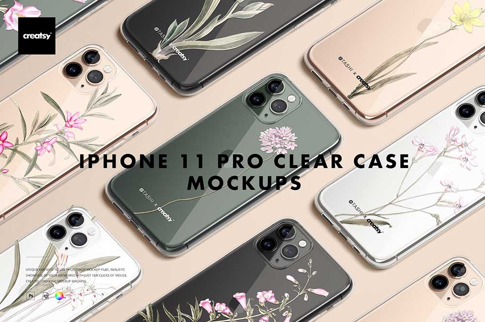 iPhone 11 Pro Clear Case Mockup Set