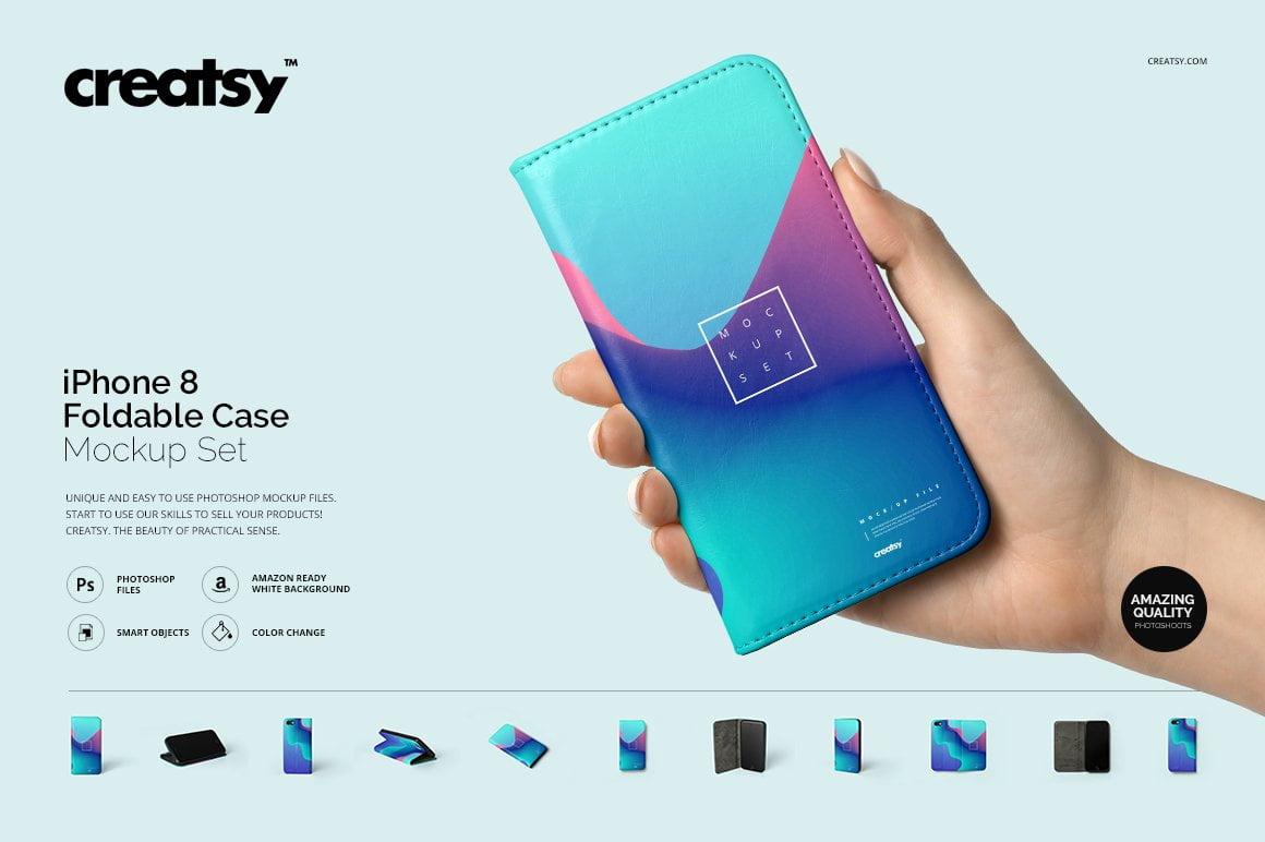 iPhone 8 Foldable Case Mockup Set