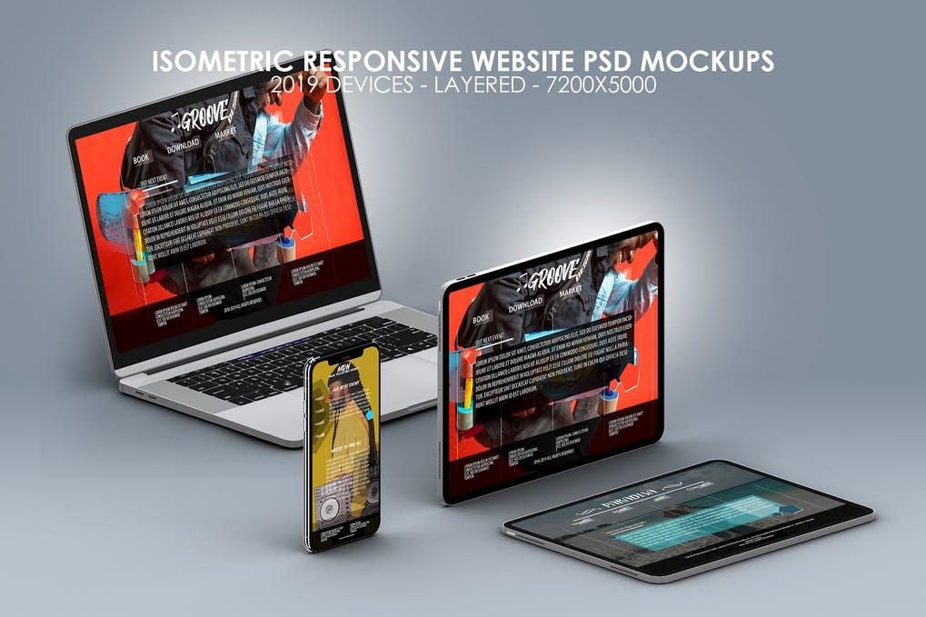 Isometric Multi-Device PSD Mock-ups