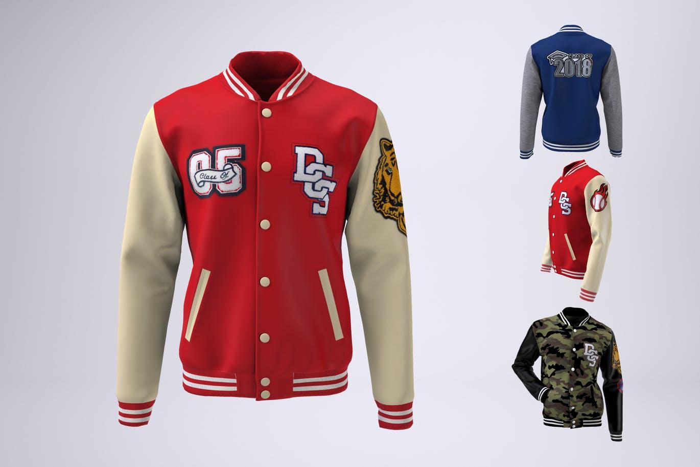 Varsity Baseball Bomber Jacket Mock-Up
