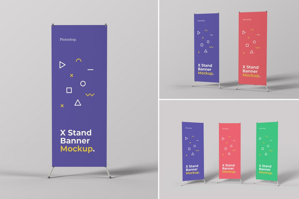 X Stand Banner Mockups