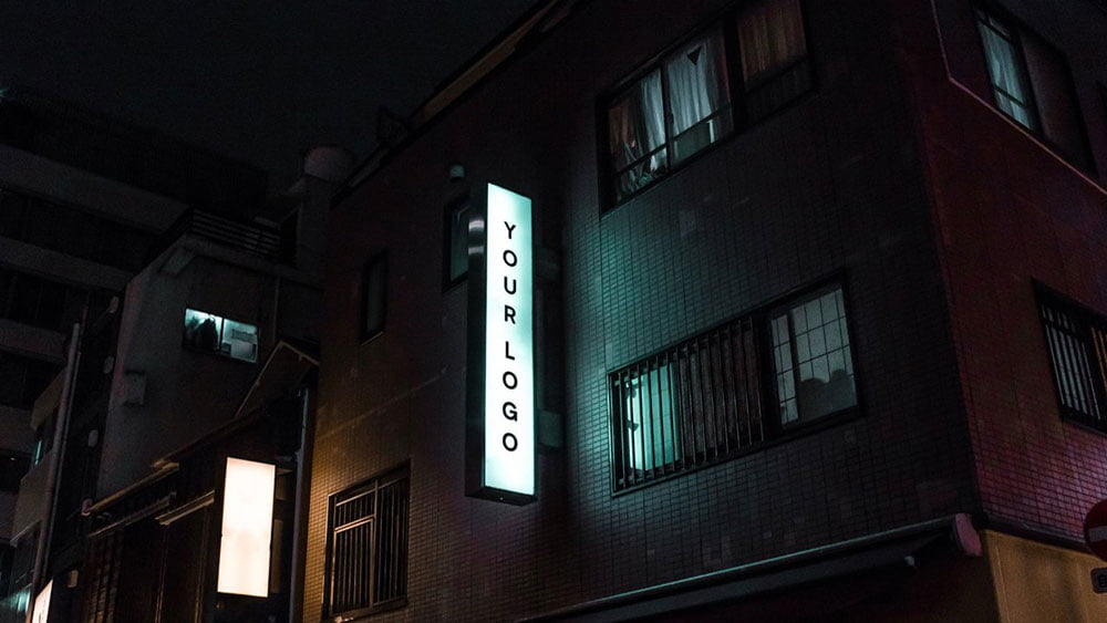 Neon Light Box Wall Sign Mockup