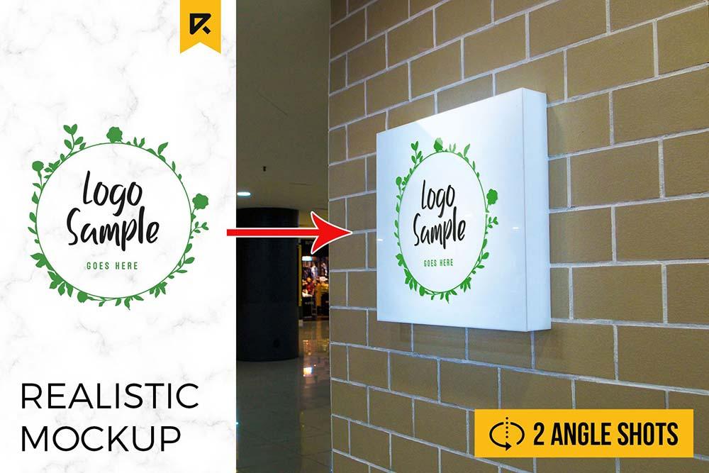 2 Square Lightbox Signboard Mockup
