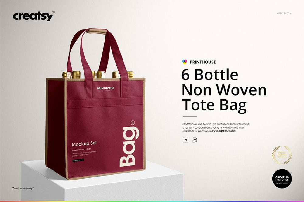 6 Bottle Non Woven Tote Bag Mockups