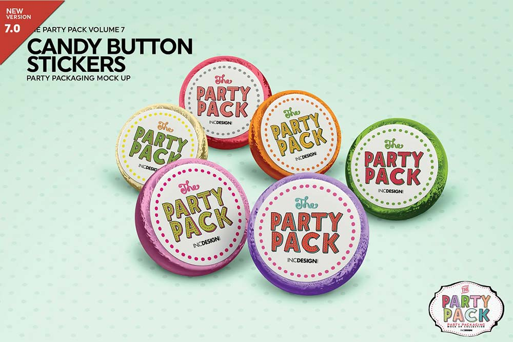 Candy Button Sticker Mockup