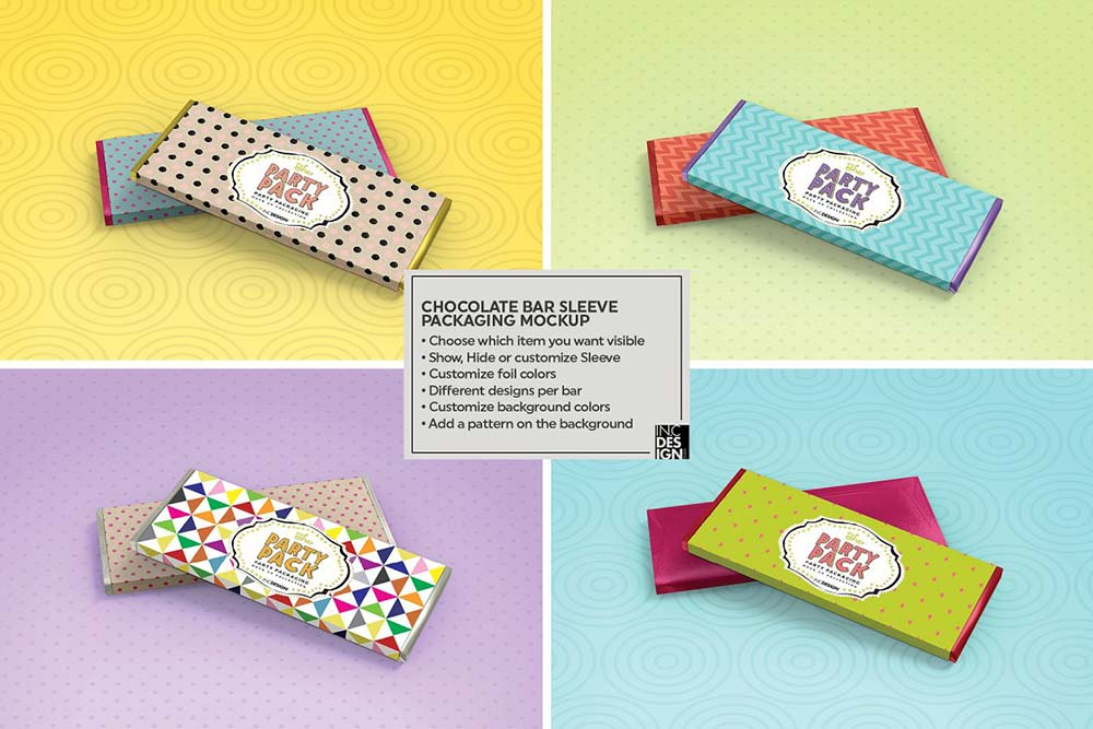 Chocolate Candy Bar Packaging Mockup