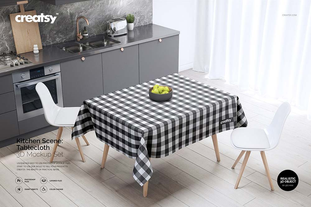 Kitchen Scene PVC Tablecloth Mockup