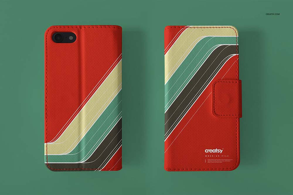 Leather Wallet Phone Case Mockup Set