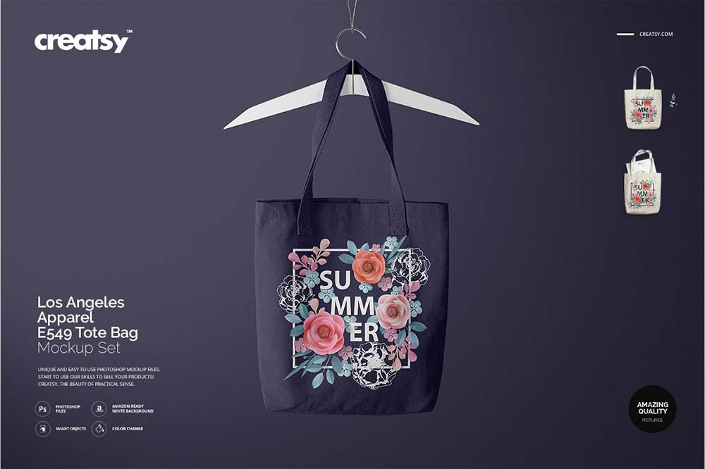 Los Angeles Apparel Tote Bag Mockup