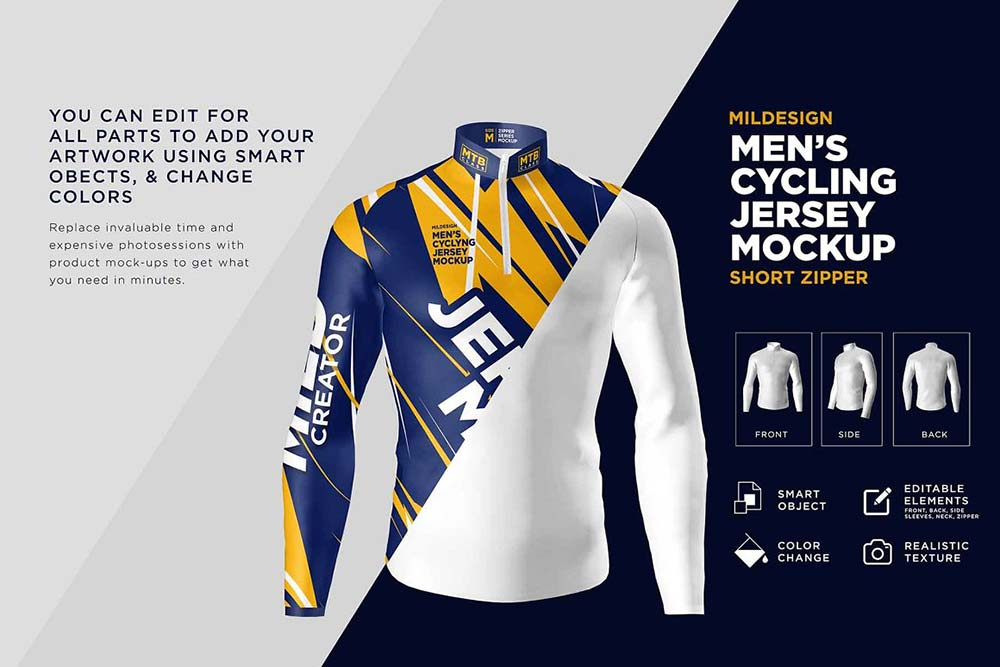 Mens Cycling Jersey Mockup