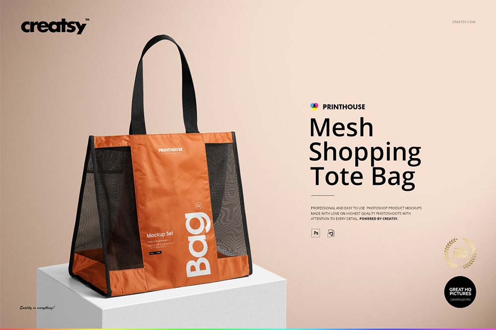 Mesh Shopping Tote Bag Mockup Set