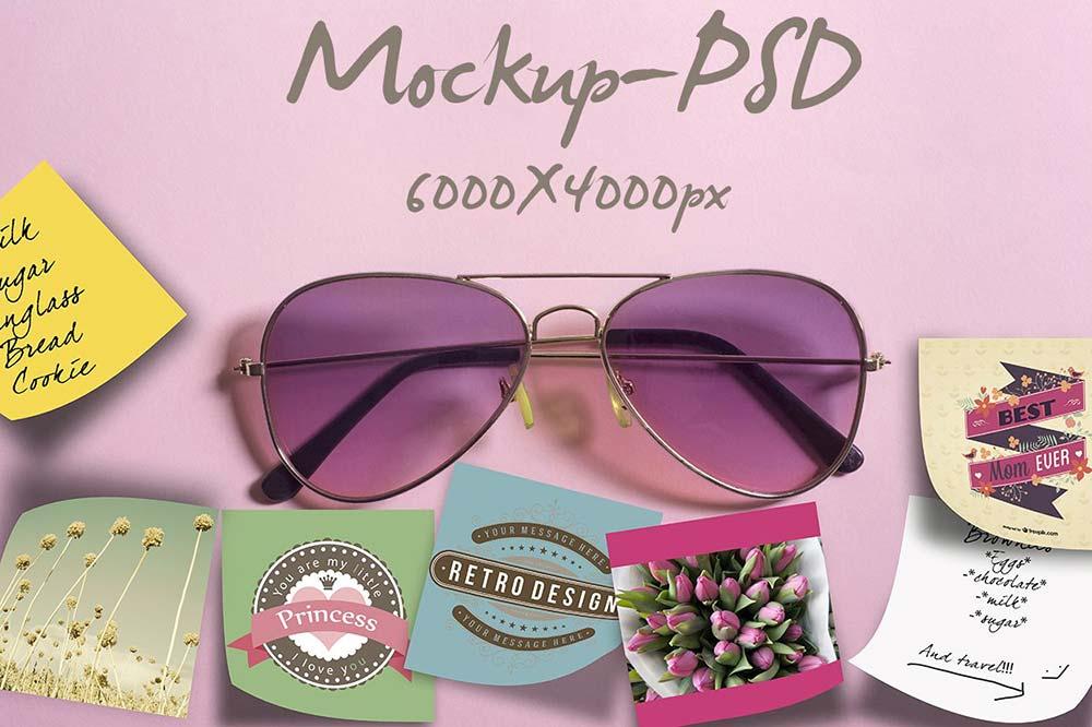Mockup-pink sunglasses and notes
