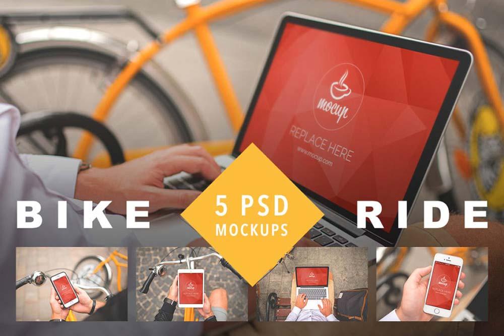 5 PSD Mockups Bike Ride