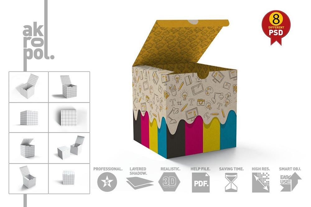 Package Cube Box Mockup