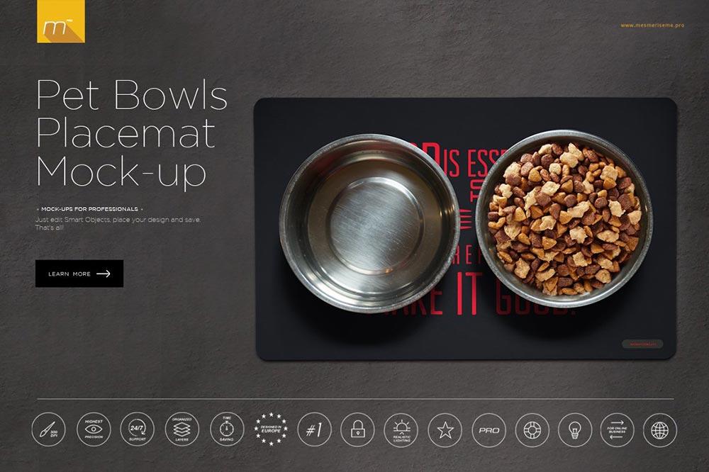Pet Bowls Placemat Mock-up