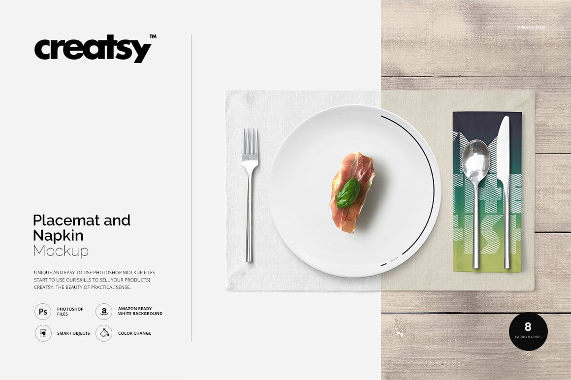 Placemat and Napkin Mockup