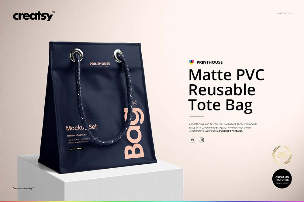 Matte PVC Reusable Tote Bag Mockups