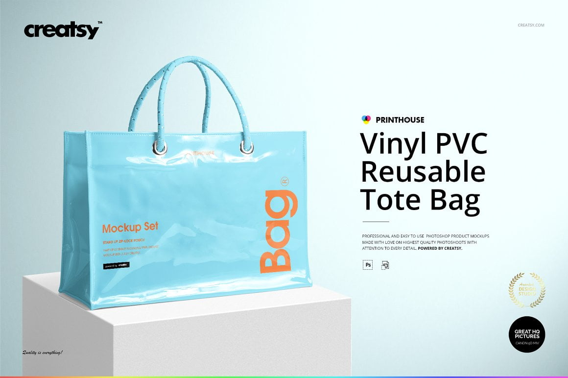 Vinyl PVC Reusable Tote Bag Mockups