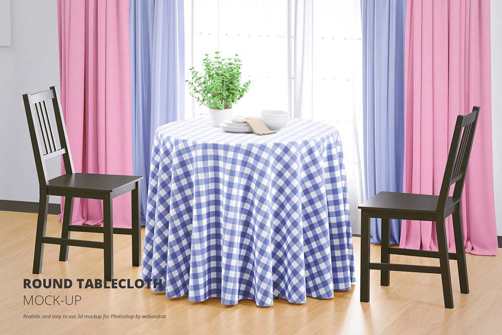 Round Tablecloth Mock-up