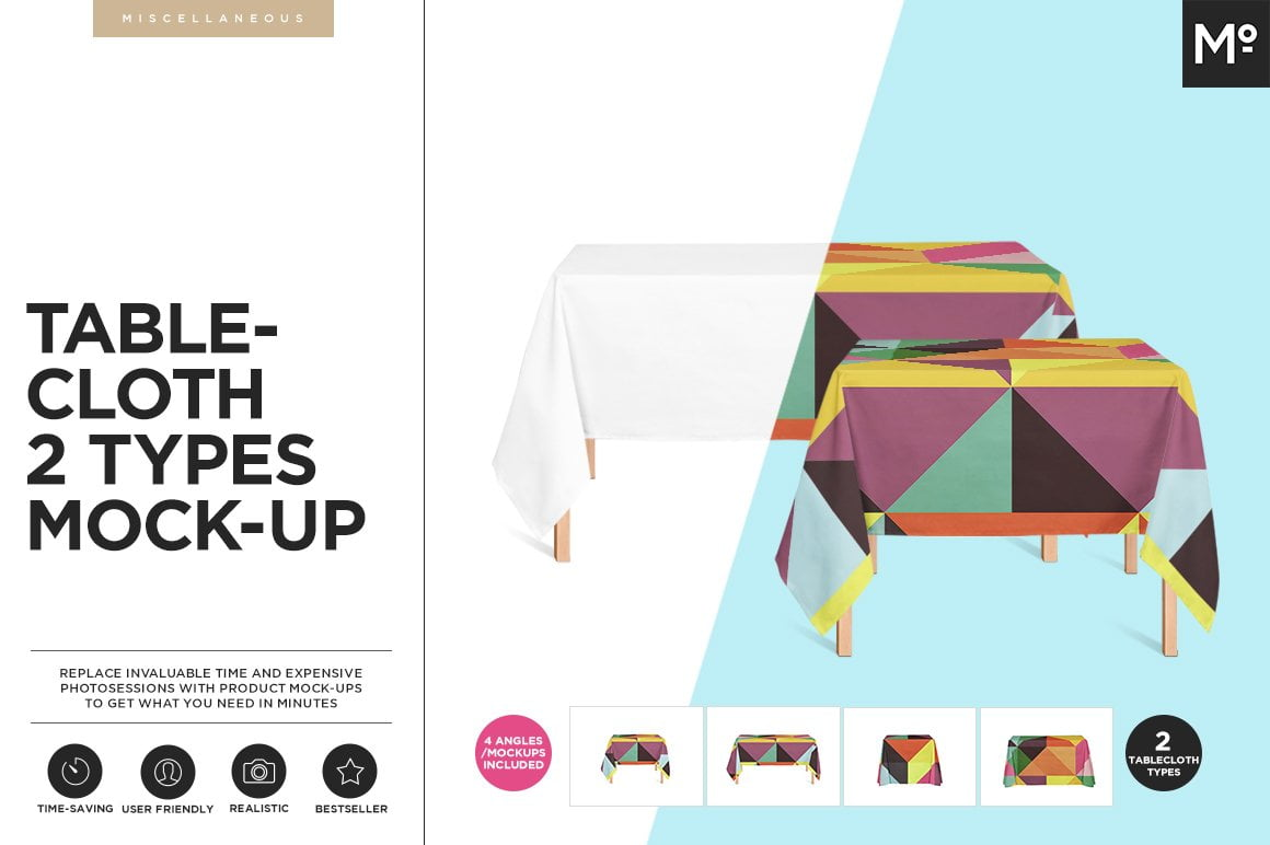 Tablecloth 2 Types Mock-ups Set