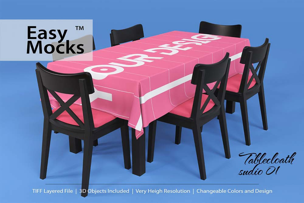 Tablecloth studio mockup set