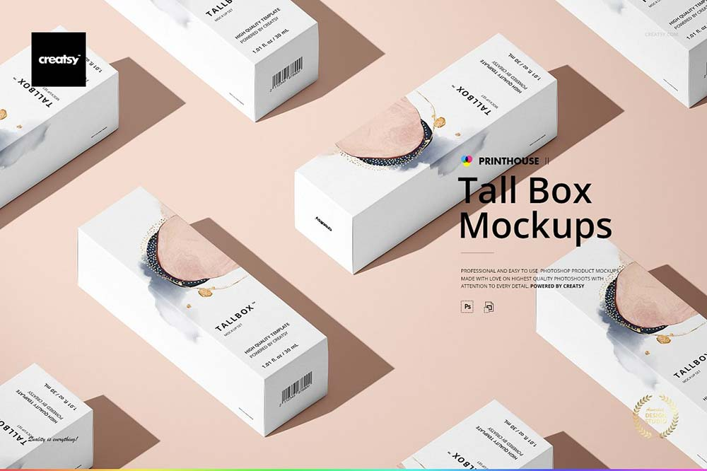 Tall Box Mockup Set
