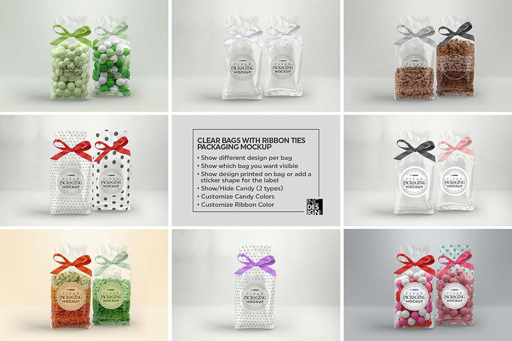 Clear Candy Bags with Ribbons Packaging Mockup