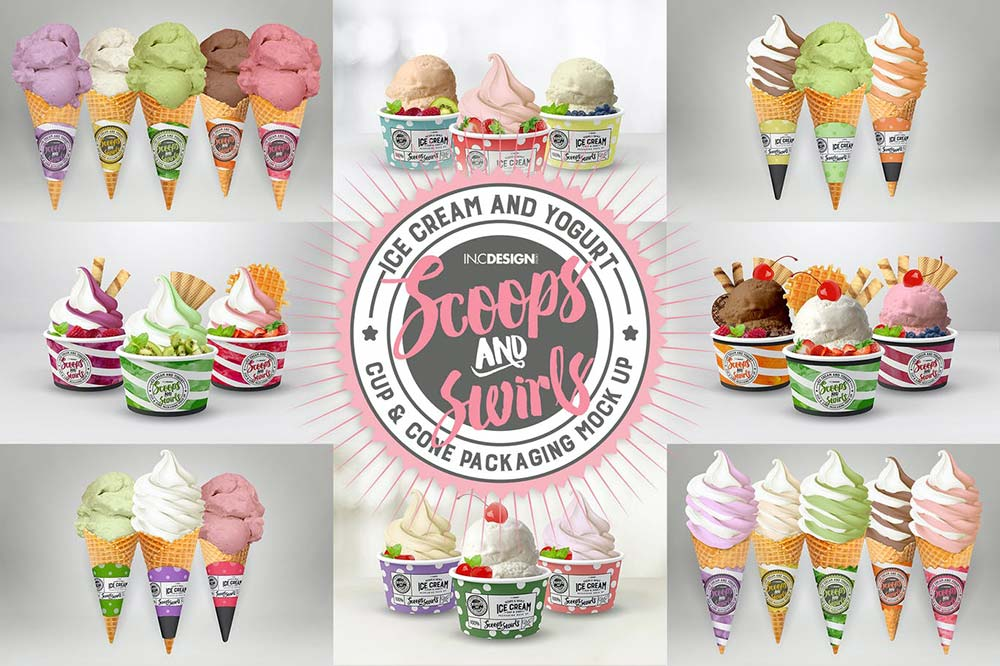 Ice Cream or Yogurt Cup and Cone Packaging Mockup