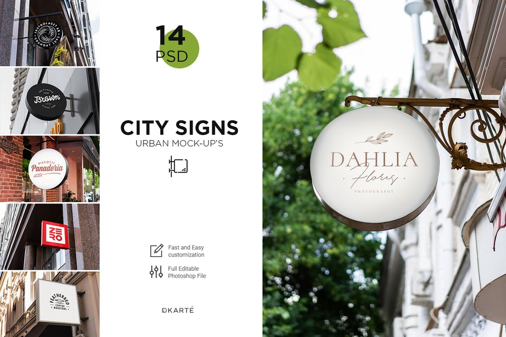 Signs Mock-Up Shopping and Cafe