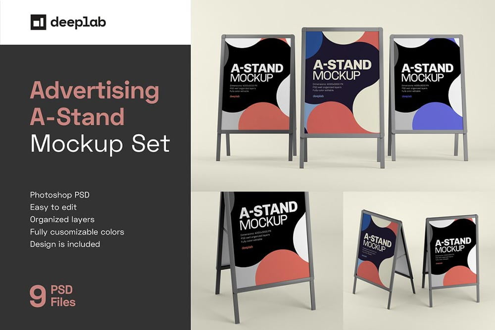 Advertising A-Stand Board Mockup Set