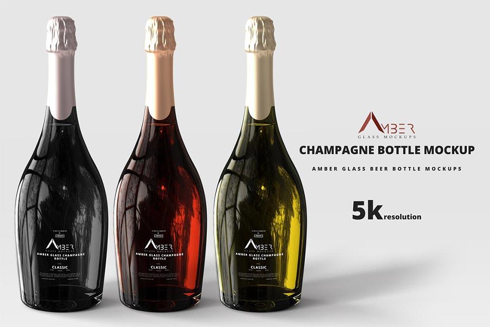 Amber Glass Champagne Mockup