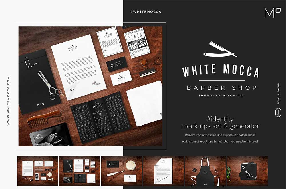 Barber Shop Identity Mock-ups Set