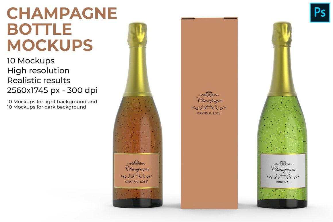 Champagne Bottle Mockups