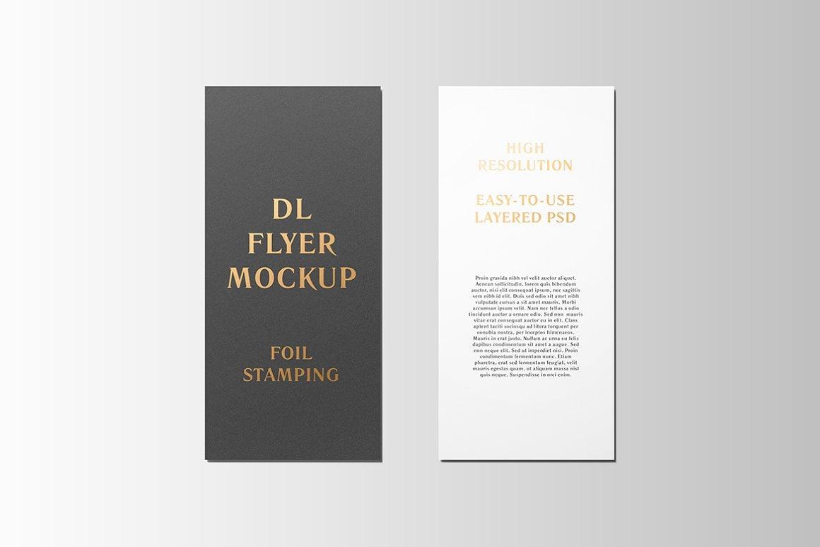 DL Flyer With Foil Stamping Mockup