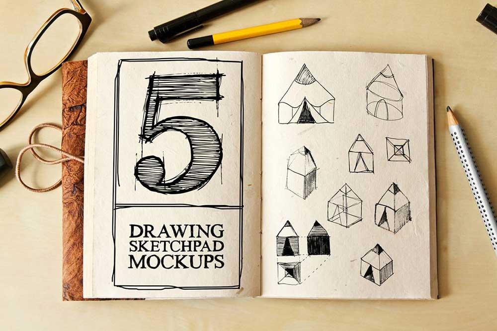 Drawing Sketch Pad Mock-ups
