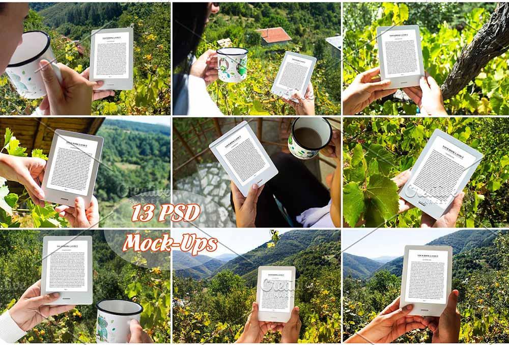 13 E-Book Reader Mock-Ups