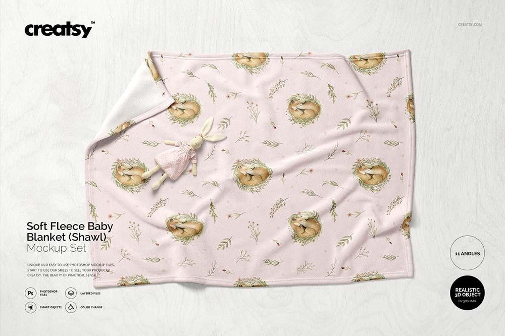 Fleece Baby Blanket Mockup