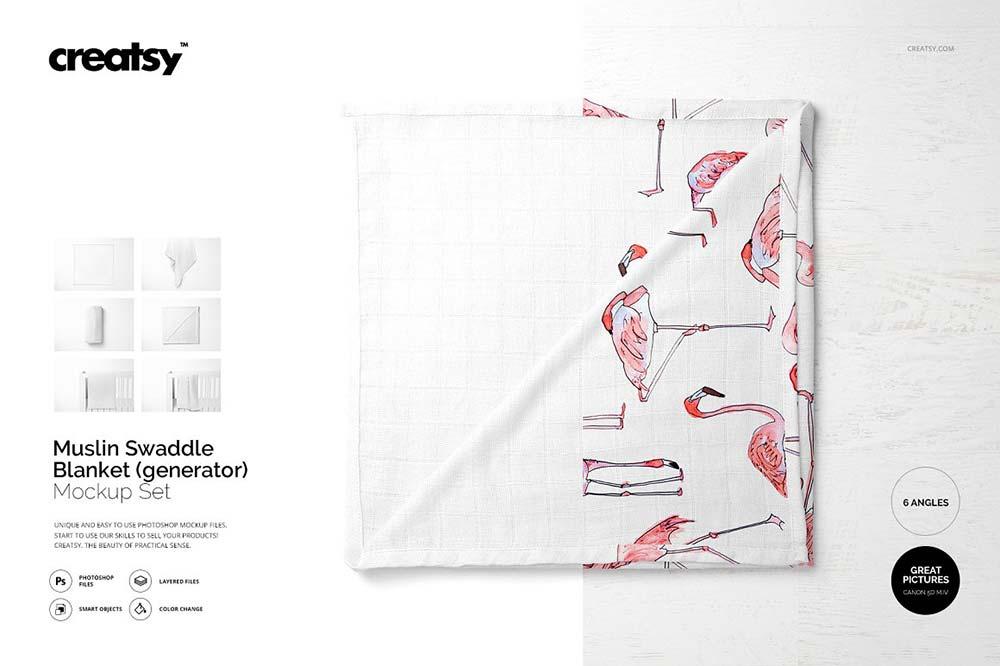 Muslin Swaddle Blanket Mockup Set