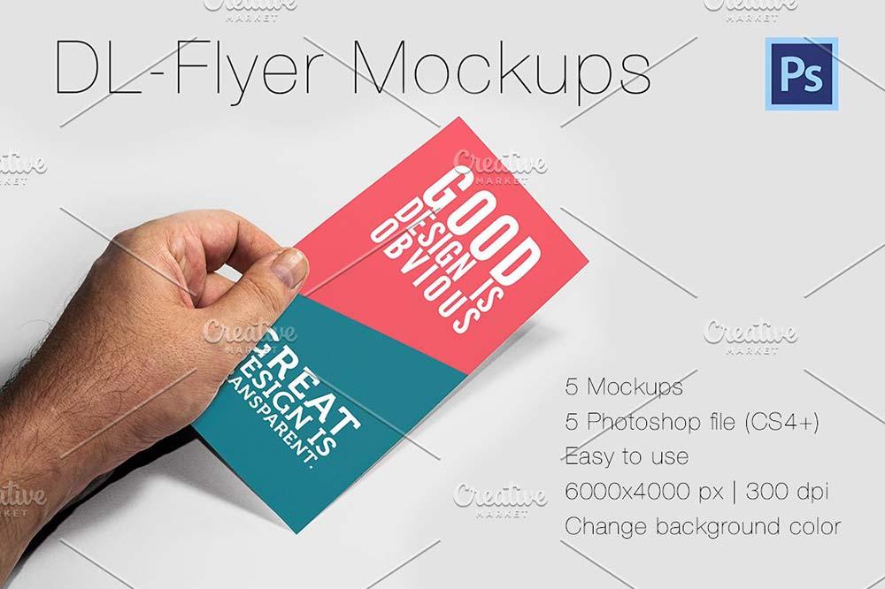 Photorealistic DL-Flyer Mockups