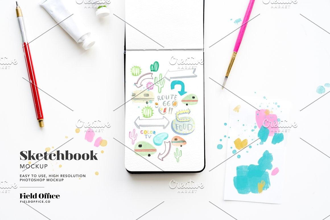 Sketchbook Desk Scene Mockup