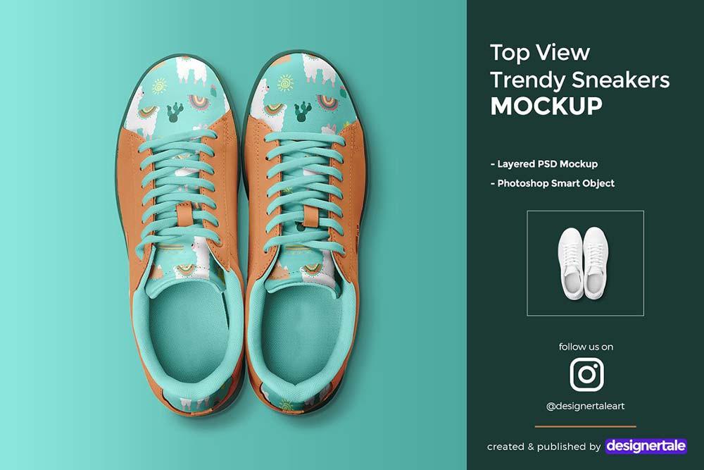 Top View Trendy Sneakers Mockup