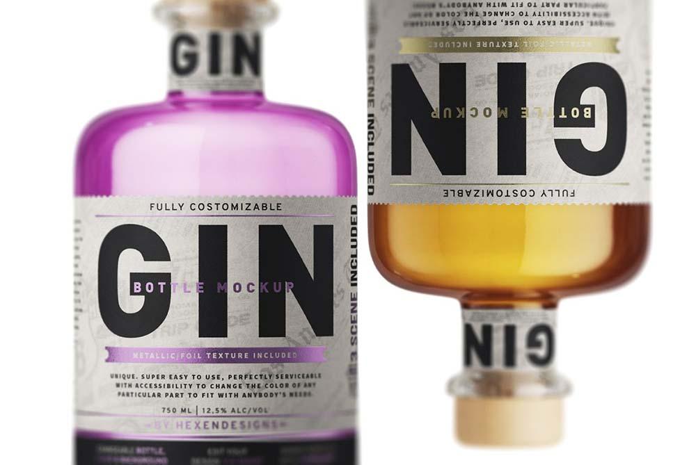 Best Gin Bottle Mockup PSD Templates
