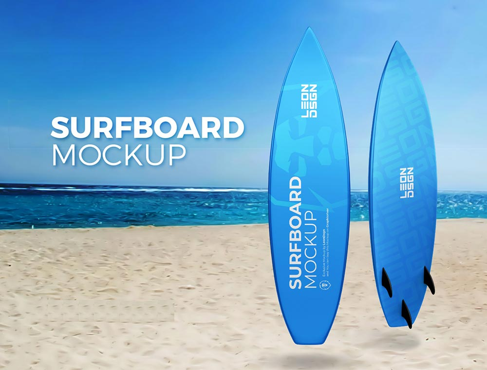 Best Surfboard Mockup PSD Templates